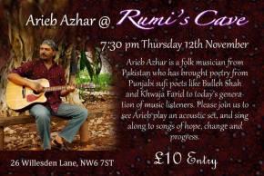 Arieb Azhar @ Rumi's Cave 7:30 pm Thursday 12thNovember